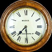 Antique English 1900s George Mudge Oak Wall Clock 420 Edgware Road
