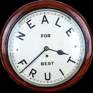 Antique English Mahogany Cased Neale Fruit Market Wall Clock