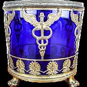Antique Medical Apothecary Caduceus Blue Cobalt Glass Jar
