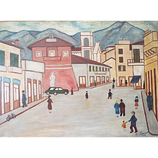 Vintage 1930s Naive Lowry Style Oil on Canvas Painting of European Street by M Simonet