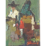 Vintage Framed Abstract Palette Knife Oil Painting of Mexican Couple by Don Shreves 12 x 9