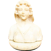 Vintage Carved Miniature Alabaster Female Bust of Young Lady