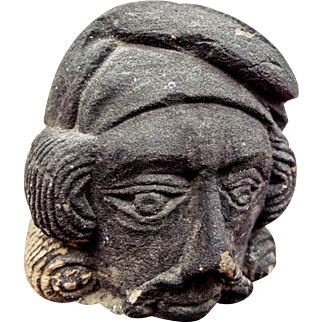 Antique Stone Basalt Carved French Head Phrygian Cap Sculpture of Old Man