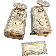 Vintage Louis XVI French Horizontal Locks Brass Door Knobs
