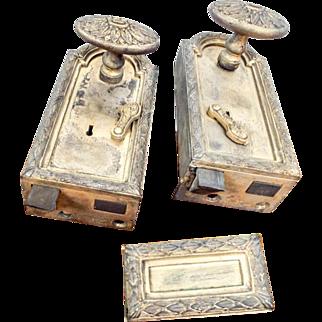 Vintage Louis XVI French Horizontal Locks Brass Door Knobs