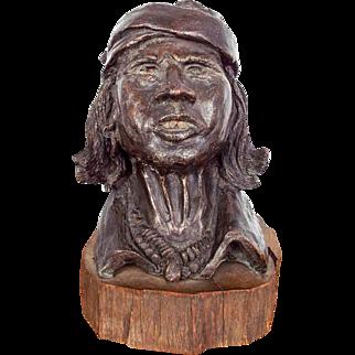Vintage Bronze Sculpture Indian Chief by Hank Richter (1928-* Phoenix, AZ)