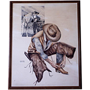 Vintage Signed Western Cowboy Watercolor Painting Hopalong Cassidy Topper