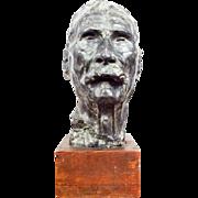 Vintage Bronze Clad Western Cowboy Metal Male Bust Sculpture