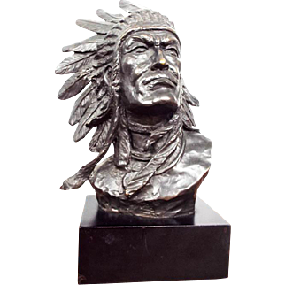 Vintage Signed Bronze Indian Chief Bust Sculpture by Bernard Kim