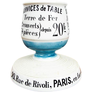 Vintage French Ceramic Match Holder Striker for Aux Lions de Faience