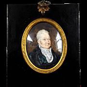Antique Miniature Portrait Oil Gouache Oval Painting