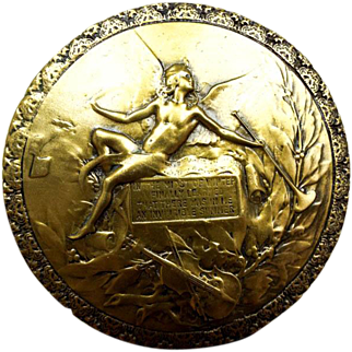 Vintage Gold Color Cold Cast Bronze Medallion Giovanni Schoeman Albert Camus