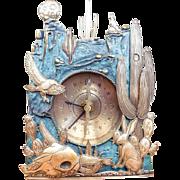 Vintage Western Kit Carson Clock Bronze & Silver Western Motif
