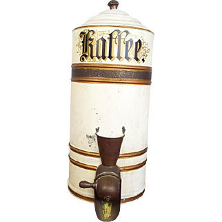 Antique German 19th C Coffee Bean Dispenser Kaffee Shop Container Canister