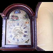 RARE Antique Tail Clock 18th C European Dutch Animated Wooden Wall Clock 1700s