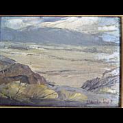"Vintage Original Signed Edward Norton Ward Oil Canvas Painting Landscape 8"" x 6"""