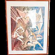 Vintage Original Lino Cut Abstract Print Signed Peri Fleischmann Ltd Ed 5/20