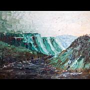 Vintage Palette Landscape Oil Painting Green Hillside Mountain Jon Goley