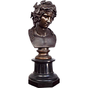 Antique 19th C French Bronze Bacchus Bust Sculpture by F Barbedienne