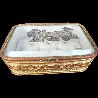 Vintage Louis XVI Gold Gilt Ormolu Beveled Glass Casket Vanity Jewelry Box
