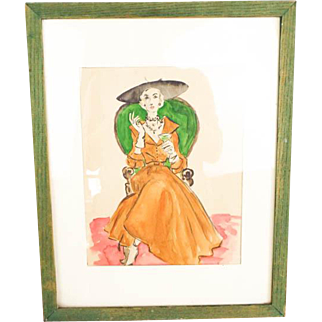 Vintage 1940s Lady Watercolor Painting Cocktail Dress Green & Orange 1950s
