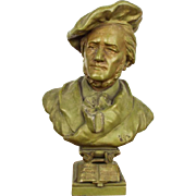 Vintage Metal Richard Wagner Sculpture, Bust Head Statue German Composer Figure