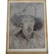 Antique Original Augustus Edwin John 1910 Signed Etching with Handwritten Letter