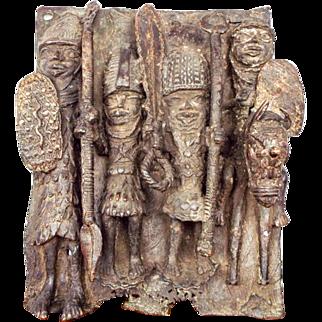 Vintage African Tribal Benin Cast Bronze Plaque Sculpture Nigerian Brass Plate