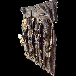 Vintage Benin Kingdom Tribal African Cast Bronze Plaque Sculpture Nigerian Plate