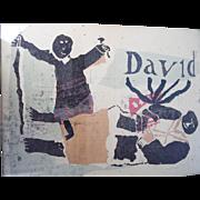 Signed Fred Mason David and Goliath Woodcut Print Original Art
