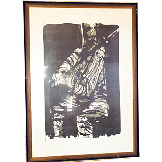 "Eugene Larkin Signed ""The Violinist"" Limited Edition Woodcut Print"