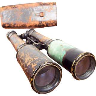Antique Post Civil War Military Long Field Glasses Binoculars w Leather Case USA