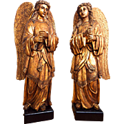 Antique Pair Religious Wooden Carved Gold Gilt Angel Sculpture Italian Statues