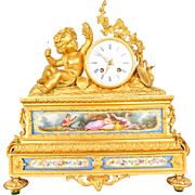 Antique French 19th C Aubert Klaftenberger Paris Louis XV Ormolu Mantel Clock