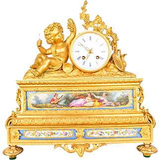 Antique French 19th C Aubert Klaftenberger Paris Louis XV Ormolu Mantel Clock
