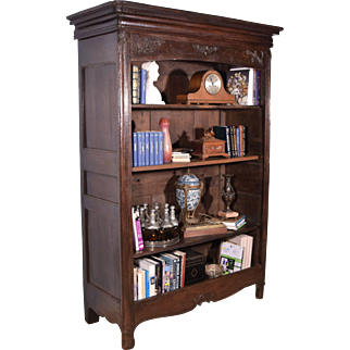 French Antique Louis XV Period Provincial Bookcase in Solid Oak