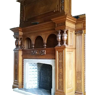 Antique Flemish Marquetry Fireplace Surround & Matching Boiserie/Paneling