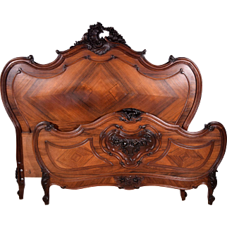 Antique French Louis XV Queen Size Bed in Rosewood