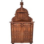 French Antique Gothic Corner Cabinet/Server/Sideboard in Oak w/ Bronze Fittings