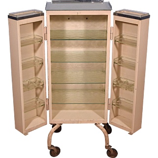 Medical/Dental Cabinet with Complete Set of Glass Trays