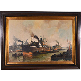 Signed Oil on Canvas Painting Seascape with Ships by Henri Pauwels (1903-1983)