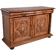 Antique French Highly Carved Henri II Sideboard/Buffet in Walnut