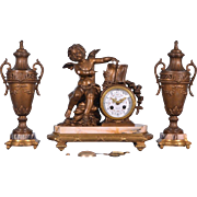 Antique French Clock & Urns Romantic Marble & Gilt Spelter w/ cherub