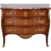 Antique French Louis XV Style Bombe Inlaid Commode Secretary Chest w/ Marble Top