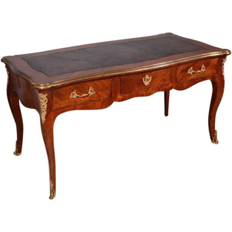 French antique louis xv period bureau plat 1700 39 s library for Bureau louis xv
