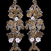 "37"" XXL French Antique Girandole Tole Candelabra Sconces in Bronze & Porcelain"