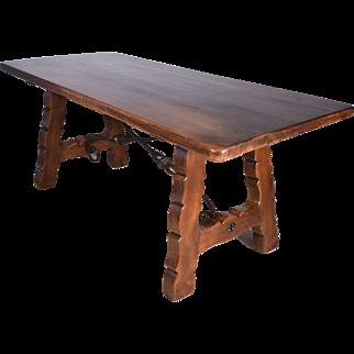 Antique Spanish Renaissance Revival Farm Table/Desk with Iron Stretchers