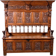 6' Tall Antique French Renaissance Revival Style Bench Storage Cabinet Highly Carved