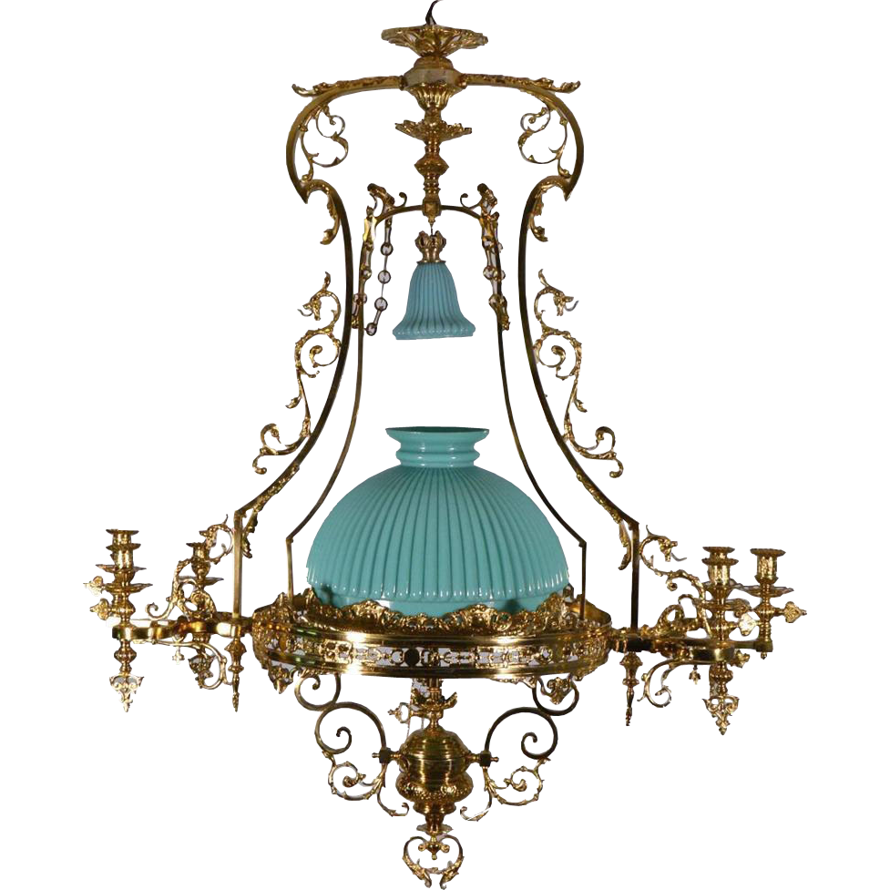 Large French Antique Bronze Gas Chandelier Gasolier Hanging Lamp - Large French Antique Bronze Gas Chandelier Gasolier Hanging Lamp