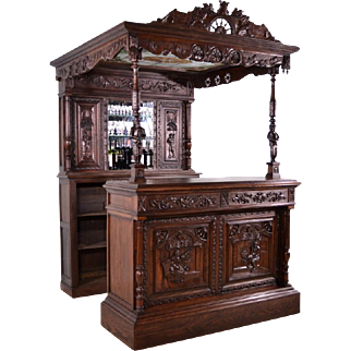 Antique French Bar and Back Bar with Canopy with Nautical/Breton Theme